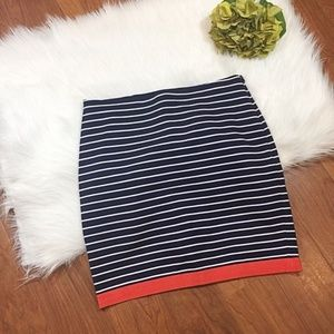 Ann Taylor Blue and White Striped Skirt